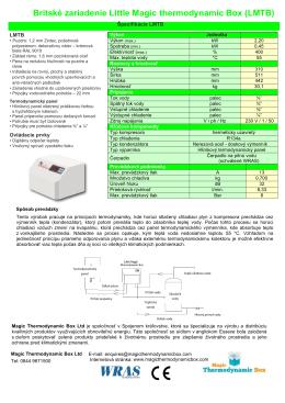 Britské zariadenie Little Magic thermodynamic Box (LMTB)