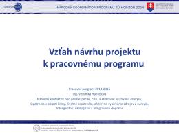 Vzťah návrh projektu k pracovnému programu