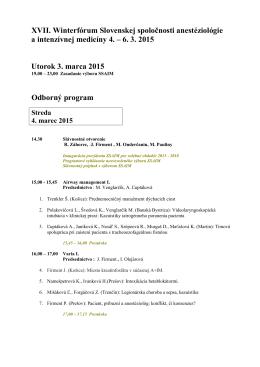 XVII. Winterfórum Slovenskej spoločnosti anestéziológie a