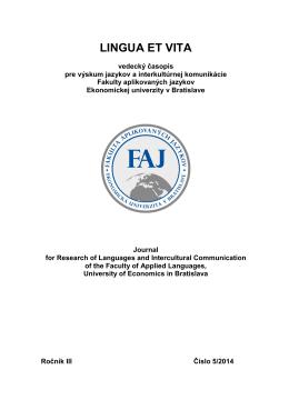 Abstrakt Lingua et vita 5 - Ekonomická univerzita v Bratislave