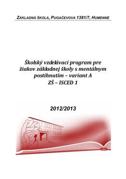 Školský vzdelávací program pre žiakov základnej