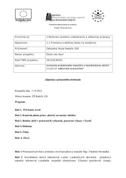 Zápisnica z pracovného stretnutia s účastníkmi projektu