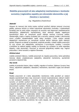 Mobilita pracovných síl ako adaptačný mechanizmus v kontexte