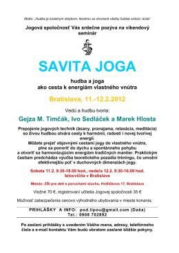SAVITA JOGA - Spoločnosť priateľov jogy