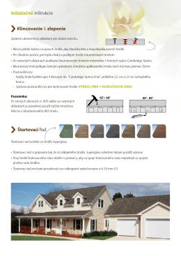 Inštalačné inštrukcie Klincovanie & zlepenie Štartovacírad