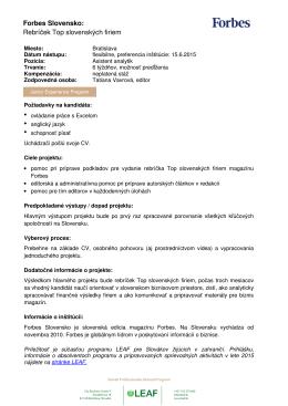 Forbes Slovensko: Rebríček Top slovenských firiem