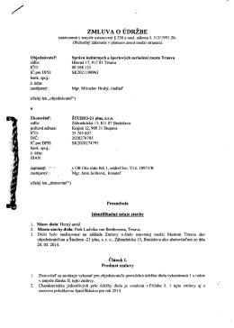Zmluva o údržbe - Správa kultúrnych a športových zariadení mesta