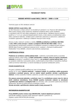 TECHNICKÝ POPIS BIESSE ARTECH model SKILL 300 K3