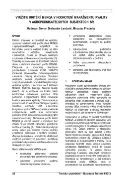využitie kritérií mbnqa v hodnotení manažmentu kvality v