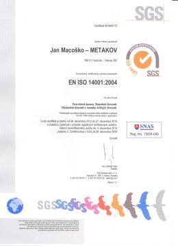 EHS certifikát