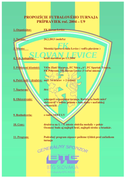 Propozície futbalového turnaja U9-Levice