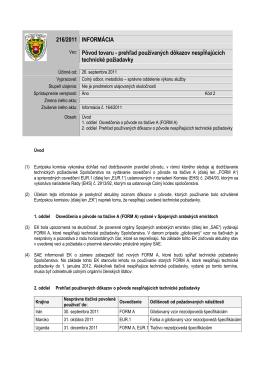 216/2011 INFORMÁCIA Vec: Pôvod tovaru