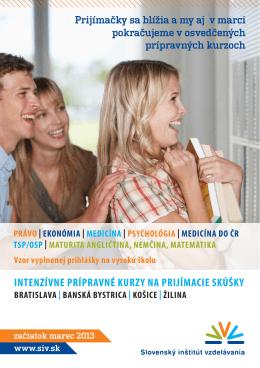 intenzívne prípravné kurzy na prijímacie skúšky
