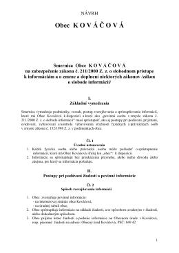 Smernica Obce K O V Á Č O V Á na zabezpečenie zákona č. 211