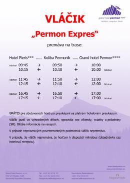 """Časový harmonogram jázd vláčika """"Permon Expres"""""""