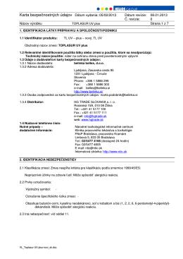 Karta bezpečnostných údajov Dátum vydania: 05/02/2013