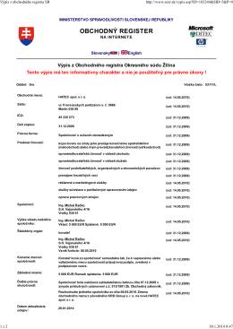 Výpis z obchodného registra SR
