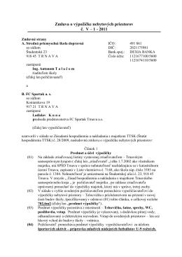 Zmluva o výpožičke nebytových priestorov č. V – 1 - 2011