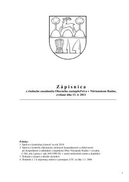 Z á p i s n i c a - Nitrianske Rudno