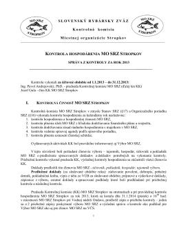 Správa Kontrolnej komisie MO SRZ za rok 2013