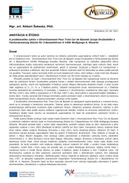 Mgr. art. Róbert Šebesta, PhD. ANOTÁCIA K ŠTÚDII Úvod