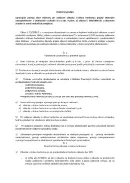 Vnútorný predpis - zákazka s nizkou hodnotou 2011