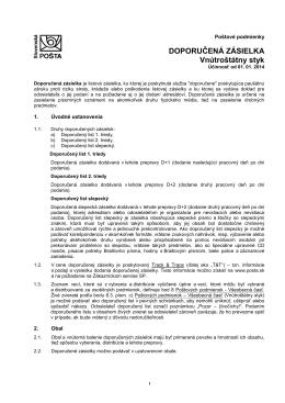 Poštové podmienky pre doporučené zásielky vo vnútroštátnom styku.