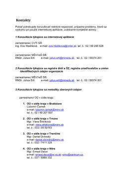 Kontakty - konzultácie k vypĺňaniu jednotlivých položiek a k