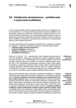 2/4 Vzdelávanie zamestnancov ± prehlbovanie a zvyśovanie