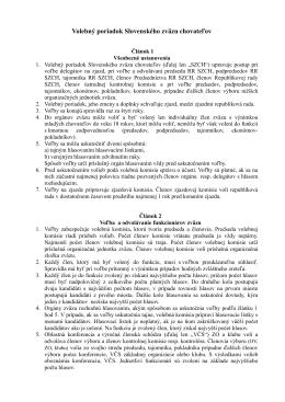 Volebný poriadok Slovenského zväzu chovateľov