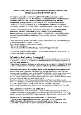 Organizácia štúdie PISA 2012