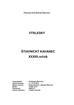 VÝSLEDKY ŠTIAVNICKÝ KAHANEC XXXIIII.ročník
