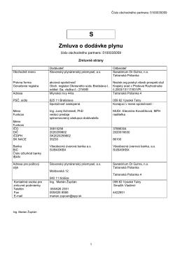 Zmluva o dodávke plnynu S