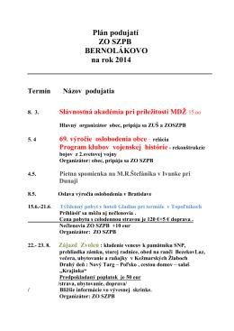Plán podujatí ZO SZPB BERNOLÁKOVO na rok 2014