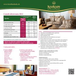Cenník ubytovania 2014