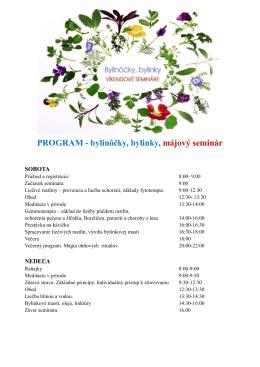 PROGRAM - bylinôčky, bylinky, májový seminár