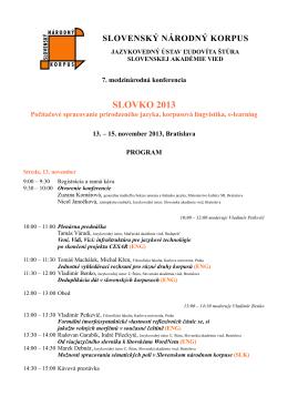Program - Slovenský národný korpus
