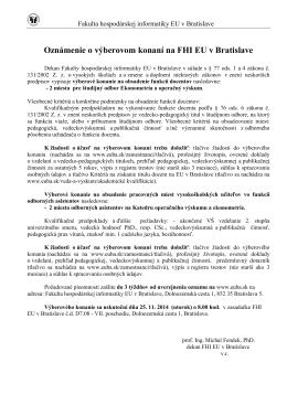 Oznámenie o výberovom konaní na FHI EU v Bratislave