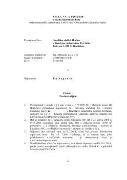Nájomná zmluva o nájme bytu - Stredisko služieb školám a