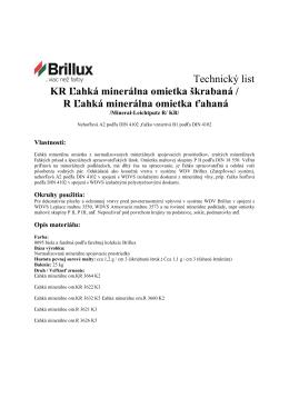 Technický list KR Ľahká minerálna omietka škrabaná / R Ľahká