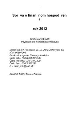 Rozbor 2012.pdf - Psychiatrická nemocnica Hronovce