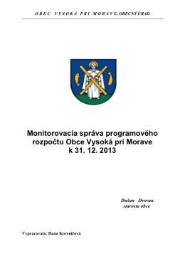 Monitorovacia správa k 31.12.2013
