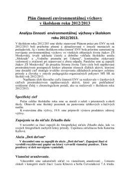 Plán činnosti environmentálnej výchovy v školskom roku 2012/2013