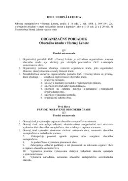 Organizacny poriadok obce Horna Lehota