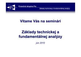 Základy technickej a fundamentálnej analýzy