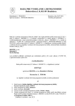 TD/46/2011 - Rada pre vysielanie a retransmisiu