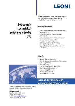 Pracovník technickej prípravy výroby (SI)