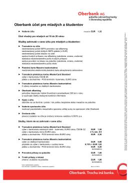 Cenník - Oberbank