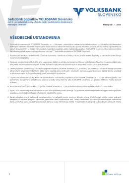 Sadzobník poplatkov VOLKSBANK Slovensko