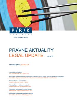 PRÁVNE AKTUALITY LEGAL UPDATE 12/2012